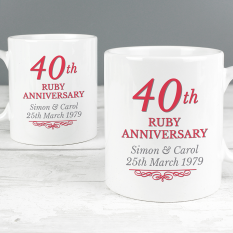 Hampers and Gifts to the UK - Send the Personalised 40th Ruby Anniversary Mug Set