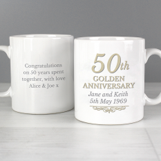 Hampers and Gifts to the UK - Send the Personalised 50th Golden Anniversary Mug Set