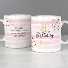 Hampers and Gifts to the UK - Send the Personalised Birthday Gold and Pink Mug