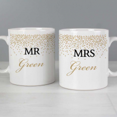 Hampers and Gifts to the UK - Send the Personalised Mr and Mrs Confetti Mug Set