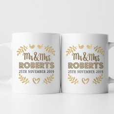 Hampers and Gifts to the UK - Send the Personalised Mr and Mrs Love Birds Mug Set