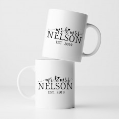 Hampers and Gifts to the UK - Send the Personalised Mr and Mrs Scripted Heart Mug Set
