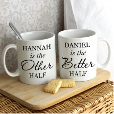 Hampers and Gifts to the UK - Send the Personalised Other Half and Better Half Mug Set