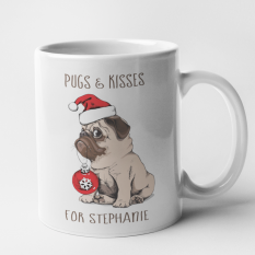 Hampers and Gifts to the UK - Send the Personalised Pugs and Kisses Mug