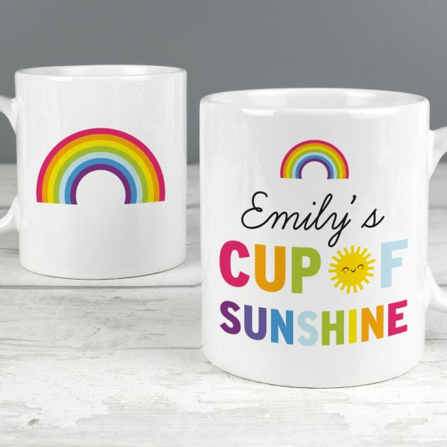 Hampers and Gifts to the UK - Send the Personalised Rainbow Cup of Sunshine Mug