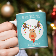 Hampers and Gifts to the UK - Send the Personalised Rudolph's Tangled Lights Christmas Mug