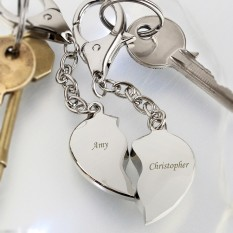 Hampers and Gifts to the UK - Send the Engraved Joining Heart Key Rings in Gift Box