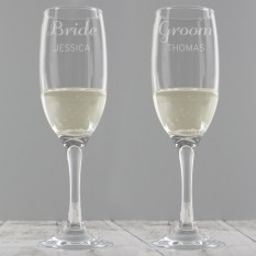 Hampers and Gifts to the UK - Send the Classic Wedding Champagne Flutes - Personalised
