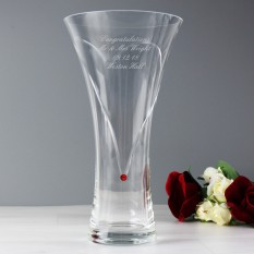 Hampers and Gifts to the UK - Send the Personalised Ruby Diamante Heart Vase