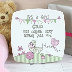 Hampers and Gifts to the UK - Send the It's a Girl Plate Whimsical Pram
