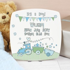 Hampers and Gifts to the UK - Send the It's A Boy Plate Whimsical Train