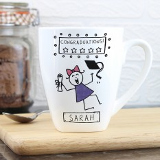 Hampers and Gifts to the UK - Send the Personalised Purple Ronnie Female Graduation Latte Mug