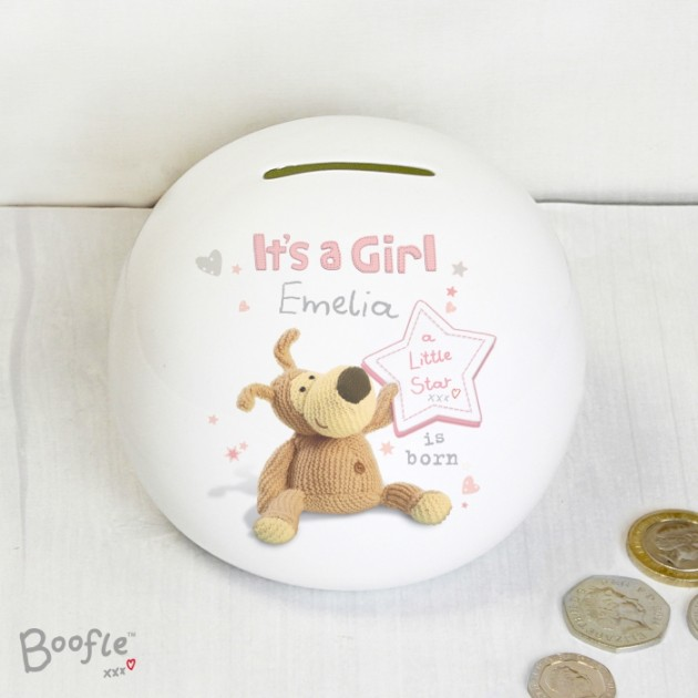 Hampers and Gifts to the UK - Send the Baby Girl's Personalised Money Box - Boofle