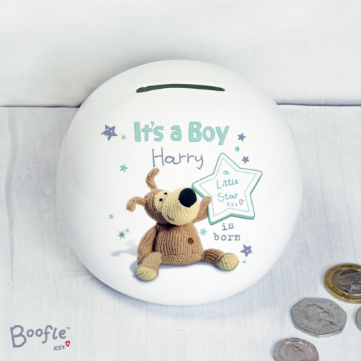 Hampers and Gifts to the UK - Send the Baby's Personalised Money Box - Boofle