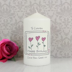 Hampers and Gifts to the UK - Send the Personalised Candle - Hearts Message