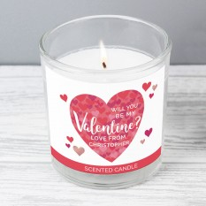 Hampers and Gifts to the UK - Send the Personalised Valentine's Day Confetti Hearts Candle