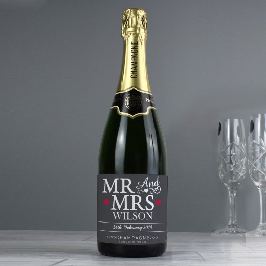 Hampers and Gifts to the UK - Send the Personalised Mr and Mrs Champagne