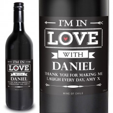 Hampers and Gifts to the UK - Send the Personalised In Love With Red Wine