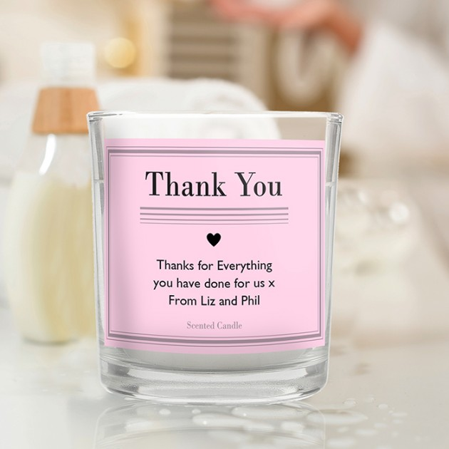Hampers and Gifts to the UK - Send the Personalised Classic Pink Scented Jar Candle