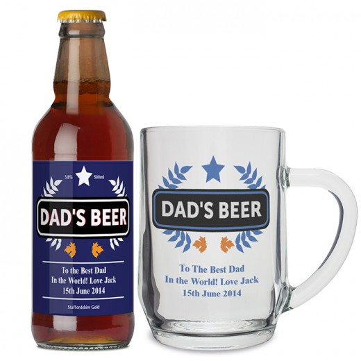 Hampers and Gifts to the UK - Send the Personalised Blue Wheat Beer and Tankard Set