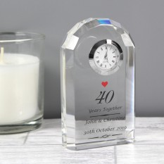 Hampers and Gifts to the UK - Send the Ruby Wedding Anniversary Crystal Clock