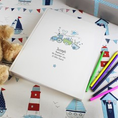Hampers and Gifts to the UK - Send the Baby's Personalised Whimsical Train Photo Album