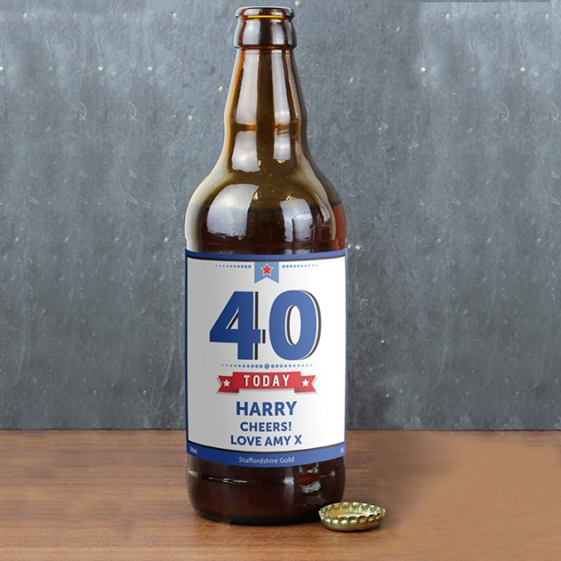 Hampers and Gifts to the UK - Send the Personalised Any Age Birthday Bottle of Beer