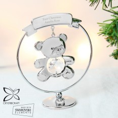 Hampers and Gifts to the UK - Send the Personalised Crystocraft Teddy Bear Ornament