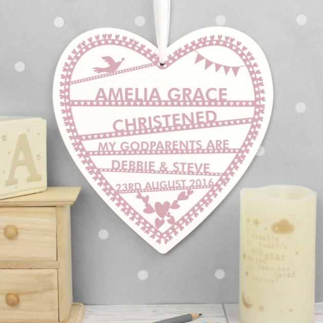 Hampers and Gifts to the UK - Send the Personalised Christening Papercut Heart Decoration