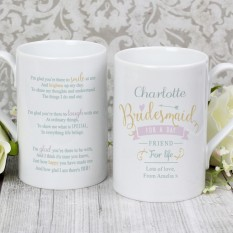 Hampers and Gifts to the UK - Send the I Am Glad... Bridesmaid Personalised Mug