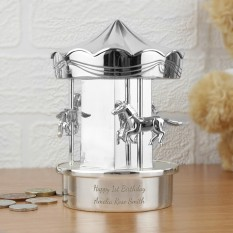Hampers and Gifts to the UK - Send the Personalised Silver Carousel Money Box