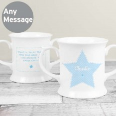 Hampers and Gifts to the UK - Send the Stitch and Dot Boys Christening Personsalised Mug