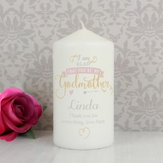 Hampers and Gifts to the UK - Send the I Am Glad... Godmother Personalised Candle