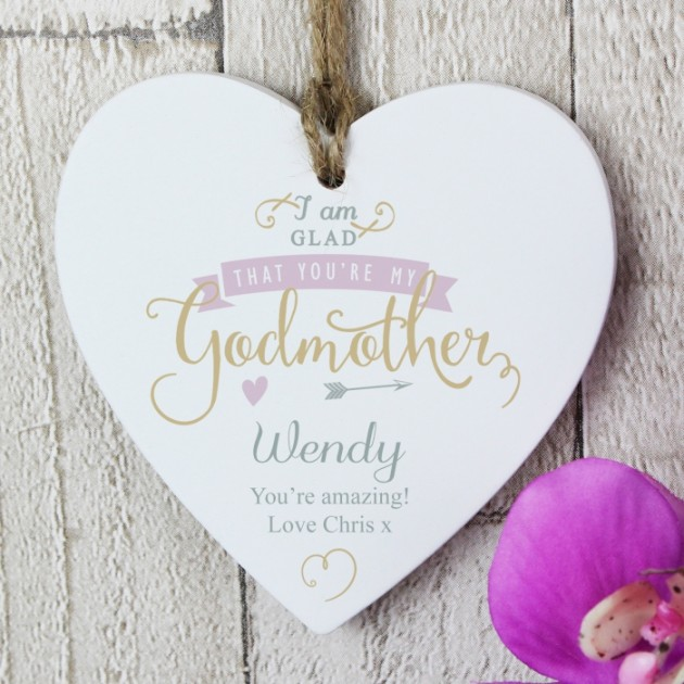 Hampers and Gifts to the UK - Send the I Am Glad... Godmother Personalised Wooden Decoration