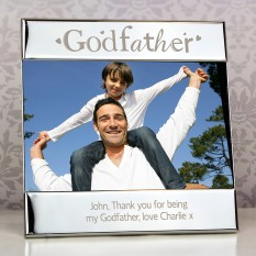 Hampers and Gifts to the UK - Send the Godfather Silver Personalised Photo Frame