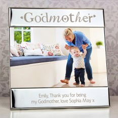 Hampers and Gifts to the UK - Send the Godmother Silver Personalised Photo Frame