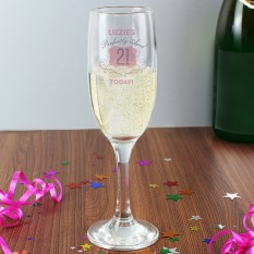 Hampers and Gifts to the UK - Send the Personalised 21st Birthday Champagne Flute