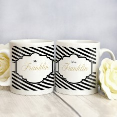 Hampers and Gifts to the UK - Send the Art Deco Mr and Mrs Mug Set - Personalised