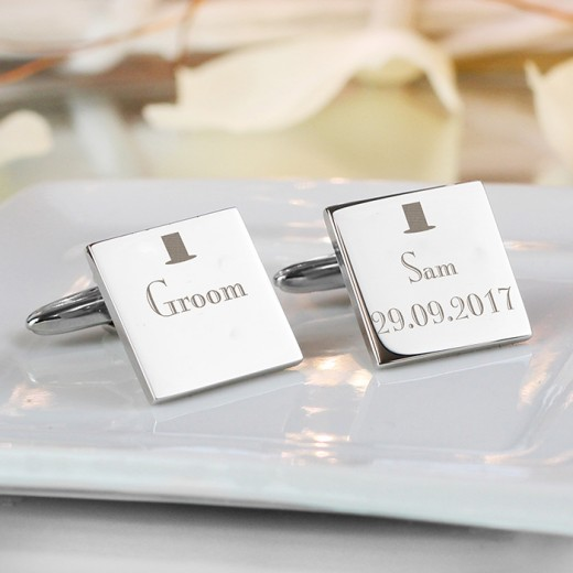 Hampers and Gifts to the UK - Send the Personalised Decorative Wedding Cufflinks - Groom
