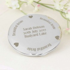 Hampers and Gifts to the UK - Send the Engraved Silver Plated Round Compact for Bride