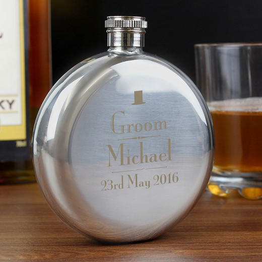 Hampers and Gifts to the UK - Send the Personalised Groom Round Hip Flask