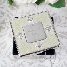 Hampers and Gifts to the UK - Send the Personalised Decorative Wedding Bridesmaid Square Diamante Trinket Box