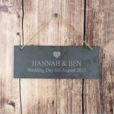 Hampers and Gifts to the UK - Send the Personalised Slate Heart Door Plaque Decoration