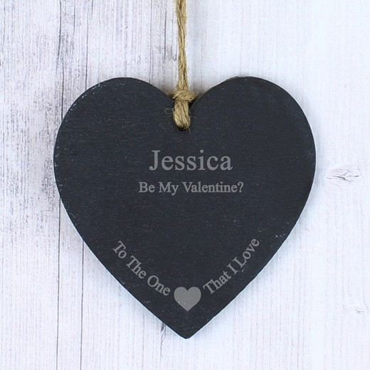 Hampers and Gifts to the UK - Send the Personalised Slate Heart To The One I Love