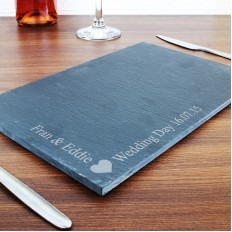 Hampers and Gifts to the UK - Send the Personalised Slate Heart Cheese Board