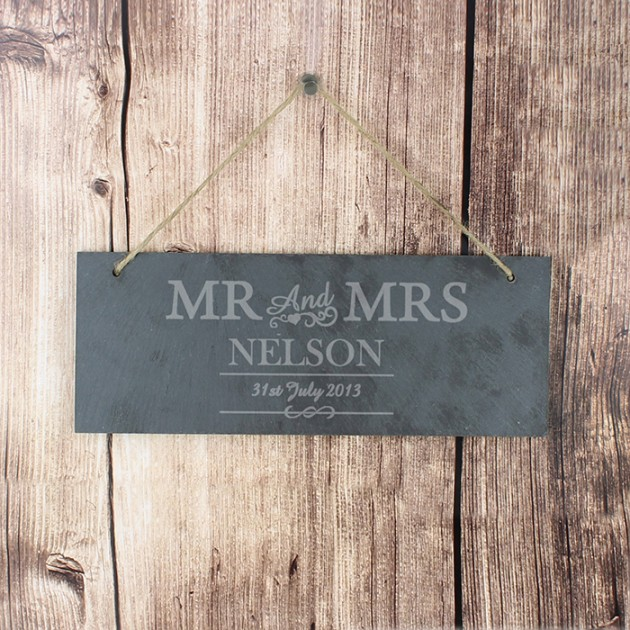 Hampers and Gifts to the UK - Send the Mr and Mrs Slate Door Plaque