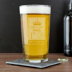 Hampers and Gifts to the UK - Send the Personalised First Class Pint Glass