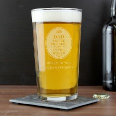 Hampers and Gifts to the UK - Send the Personalised Pint Glass Dad You're The Best