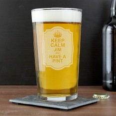 Hampers and Gifts to the UK - Send the Personalised Pint Glass Keep Calm