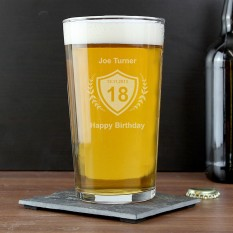Hampers and Gifts to the UK - Send the Personalised Pint Glass with Age Crest